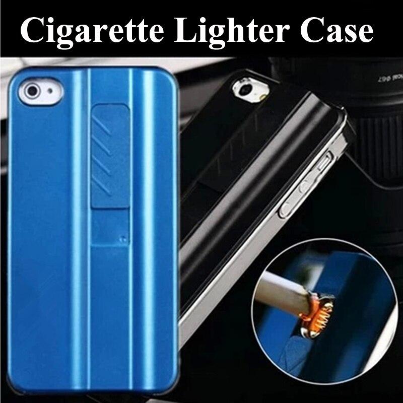 Luxury Aluminium + Plastic Rechargeable Cigarette Lighter Case For iphone 6 6S Plus SE 5 5S Lighting Men Style Back Cover Coque