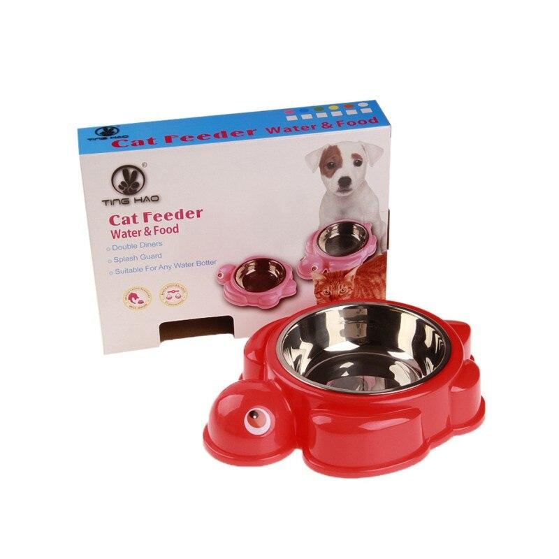 Краб форма черепаха питатель для домашних животных миски для собак еда противоскользящая одинарная пищевая чаша для воды товары для щенков - Цвет: Красный