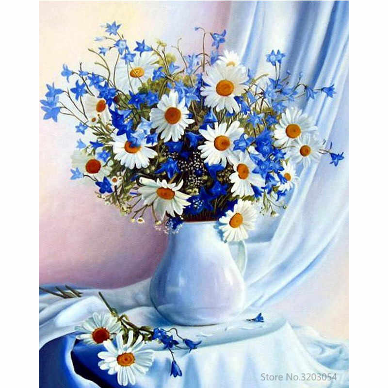 CHUNXIA Framed DIY Painting By Numbers Flower Acrylic Painting Modern Picture Home Decor For Living Room 40x50cm RA3270