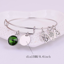 Personalized Name Engraved Expandable Wire Charms Bracelet Birthstone  Style Custom Name Tag Bangle Gift Family And Friends