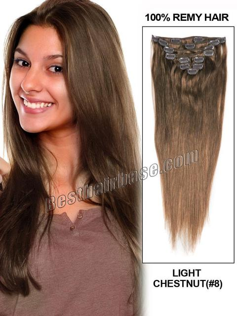 Wholesale Single Weft 20 Inch Straight Clip In Hair Extension In 8