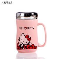 ASFULL Cute KT Cat Style Ceramic Mugs with Lid Cartoon Creative Moring Mug Milk Coffee Tea Unique for Porcelain Mugs