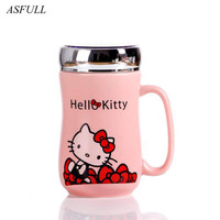 ASFULL Cute KT Cat Style Ceramic Mugs With Lid Cartoon Creative Moring Mug Milk Coffee Tea