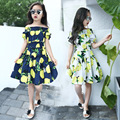 2016 Beach Tourism Children Girls Summer Clothing Dress Kids Cotton Lemon Yellow Sweet Lovely Princess Lov Dresses Suit 4-8 Year