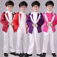 5 pcs 2017 Kids Clothes Boys Formal Suits Baby Boy Clothes Sets Gentleman Suit Fashion Candy Colors Blue Boy Blazers Children