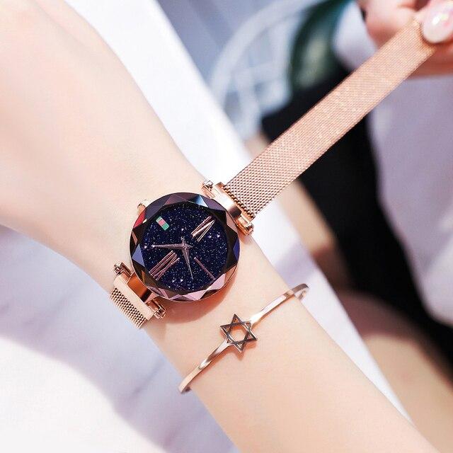 Watch Women Luxury Rose Gold Ladies Wrist Watches Starry Sky Magnetic Watch Wate