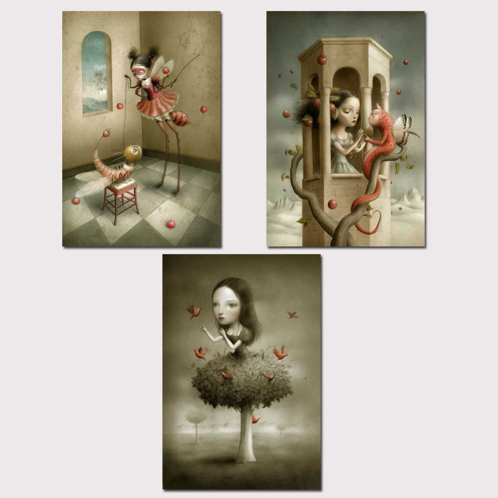 Mark Ryden Pop Surrealism 1 Panel Abstract Wall Art Oil Painting Poster Canvas Painting Print for Living Room Home Decor 03