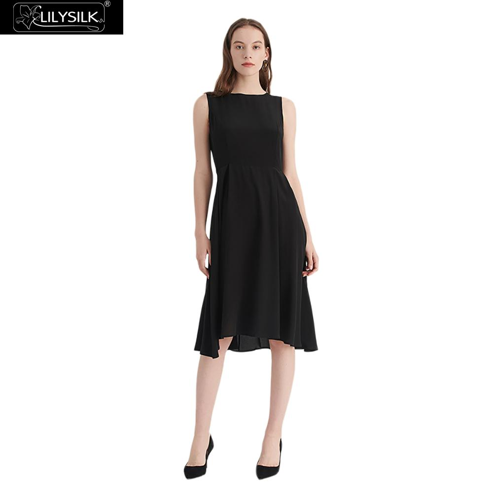 LilySilk Dress Women Clothes Black Silk Party Little Ladies Vintage Round Neck 16 momme Free Shipping