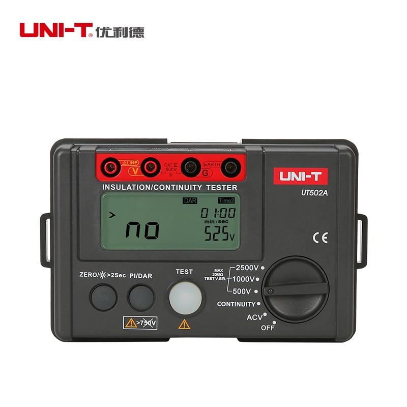LCD Backlight UNI-T UT502A 2500V Digital Insulation Resistance Meter Tester Megohmmeter Highly Voltmeter Continuity Tester uni t ut501a 2 8 lcd insulation resistance tester red grey 6 x aa