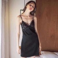 7e4a80fd6 ... Sleepwear Silk Nightgown Sexy Lingerie Lace Dress V Neck Negligee  Nightdress Summer Female. Vestido de Noite das mulheres Sleepwear Camisola  De Seda ...
