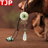 National wind long necklace jade pendant retro Mori simple personality sweater chain feminine ornament free shipping