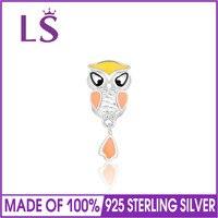 LS 925 Sterling Silver Owl Charm Beads With Enamel DIY Bracelet Pendant Authentic Luxury Women Jewelry
