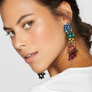 FASHIONSNOOPS Rhinestone spadek kolczyki dla kobiet 2019 kryształowe kolczyki dla kobiet luksusowa biżuteria długi dynda kolczyk Party prezent