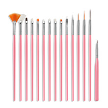 15pcs/set Nail Tools Pen Crystal Carved Painted Flower Point Pull The Gradient Pastels Sprinkled