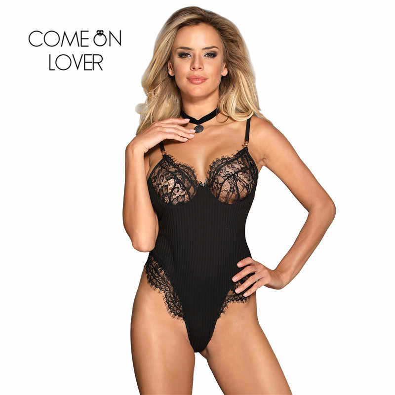 541a148ced Comeonlover Bodysuit Women 2018 Lace Eyelash Feminino Overalls Short  Jumpsuit Stretchy Striped Party Playsuits Sexy Teddy