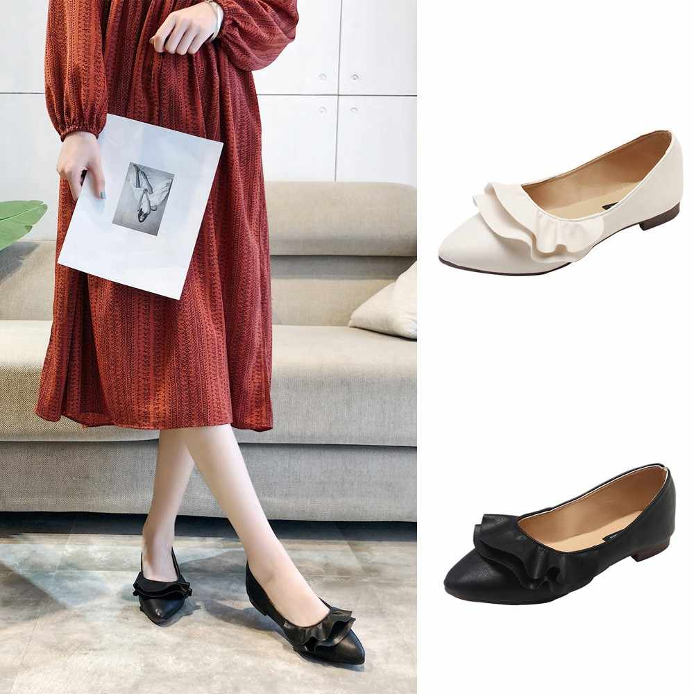 YOUYEDIAN Casual Shoes Solid Fashion Loafer Female Women Casual Pointed Toe  Black Oxford Shoes Cheap single ab795cf08693