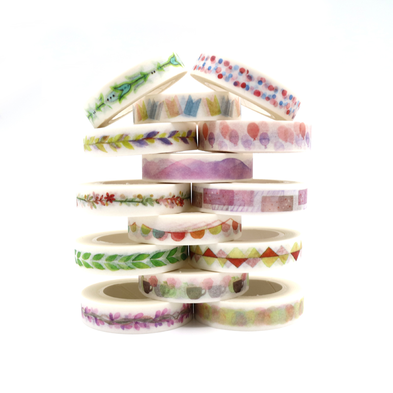 14 Styles Plants Flowers Watercolor Painting Decorative Tape Adhesive Masking Washi Tape Paper Stickers 10m*10mm -1 PCS