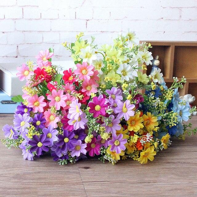 1 ช่อดอกไม้ 28 หัวCinerariaประดิษฐ์ดอกไม้ตกแต่งบ้านสำนักงานSilk Daisyประดิษฐ์ตกแต่งในร่มกลางแจ้งA12150