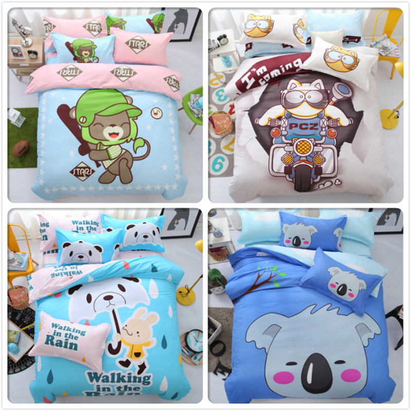 Kids Student 1.2m 1.5m 1.8m 2m 3pcs 4pcs Bedding Set Queen Double Single Size Duvet Cover Pillowcase Bed Sheet Animal Bedlinens