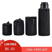 4 Uds. De bolsa para lentes de cámara DSLR, Protector acolchado impermeable para DSLR, Nikon, Canon, Sony, almacenamiento de lentes