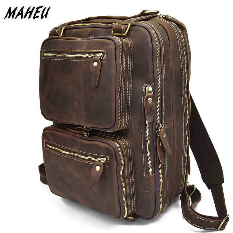 MAHEU High Quality Leather Backpack Double Zipper Cowhide Backpacks Brief Case Travel Office Dual Use Shoulder