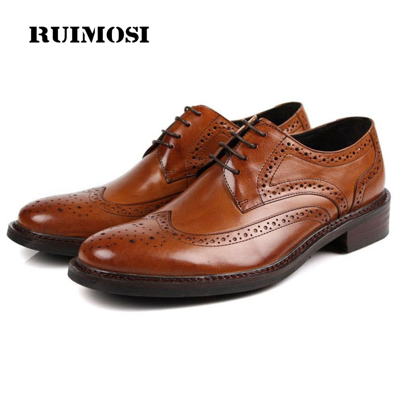 RUIMOSI New Arrival Brand Man Dress Shoes Genuine Leather Vintage Brogue Oxfords Round Toe Formal Men's Wing Tip Flats CA43