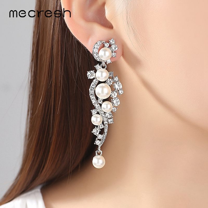 Mecresh Luxury Simulated Pearl Long Earrings för kvinnor Silver - Märkessmycken - Foto 2