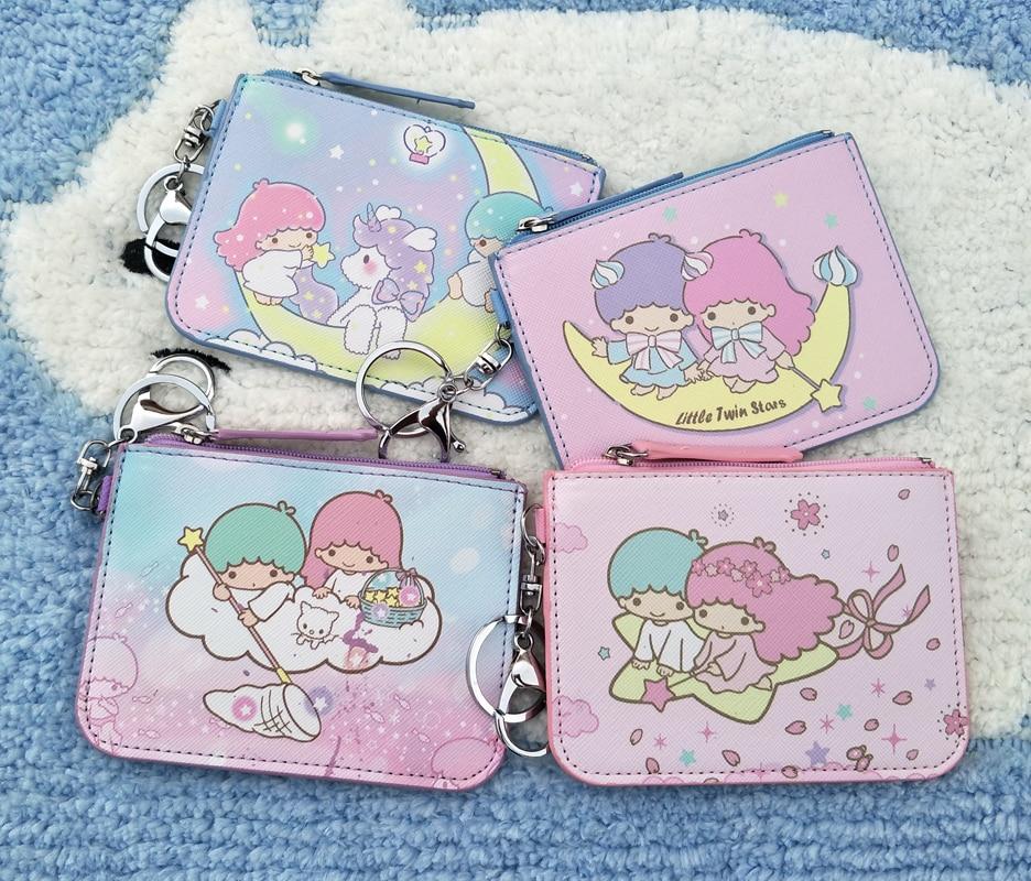 Cartoon Little Twin Stars PU Purse Card Key Mini Purse Pouch pu Bag Small Zipper Coin Purse Card Holder Wallet 1PC Random Send
