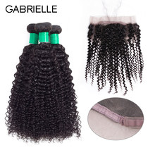 Gabrielle Brazilian Human Hair Kinky Curly 3 Bundles with 360 Lace Frontal Closure Natural Color Non Remy Hair Weaves 8-28 inch(China)