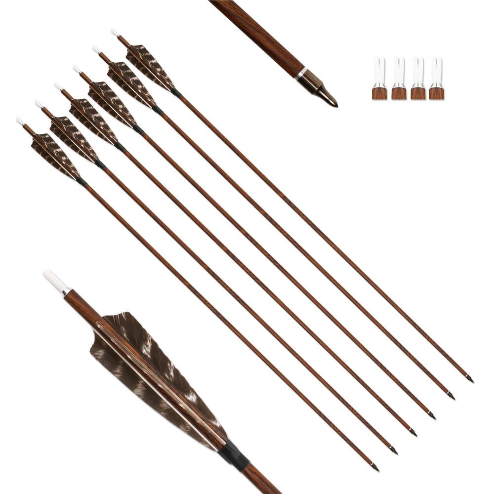 Tiro con l'arco per legno con frecce in fibra di carbonio Confezione da 12 spinotti 400/500/600 con vera piuma di tacchino 29/30/31 pollici per archi ricurvi composti