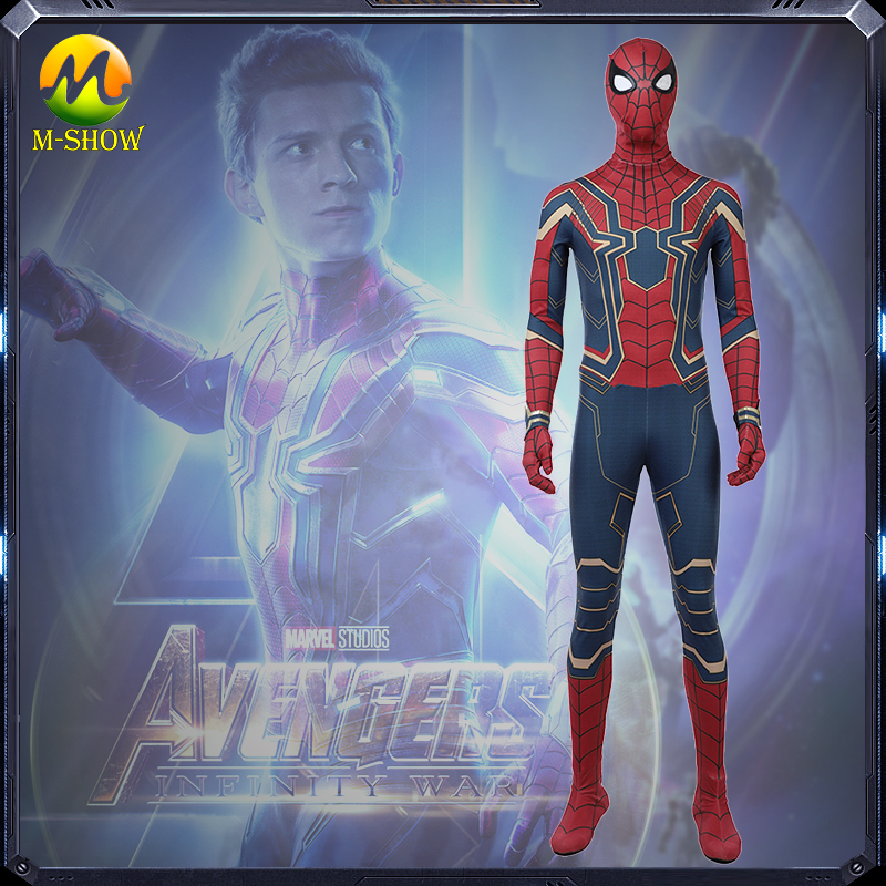 Avengers Infinity War Spider-Man Cosplay Costume Spider Man Infinity War Costume Peter Park Jumpsuit For Halloween Free Shipping