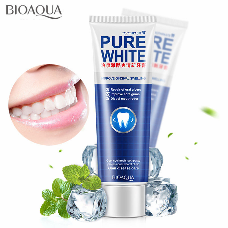 BIOAQUA Herbal Mint Fresh Toothpaste Whitening Remove Yellow Stains Halitosis Plaque Reduce Gingivitis Dentifrice Clean Dental image