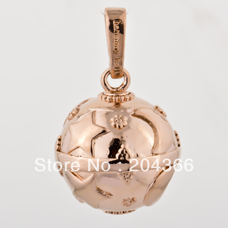 LD328 Wholesale 1PC 20MM Mexican Bola Pendant Rose Gold Plated Silver Harmony Ball Ringing Chime Pendant