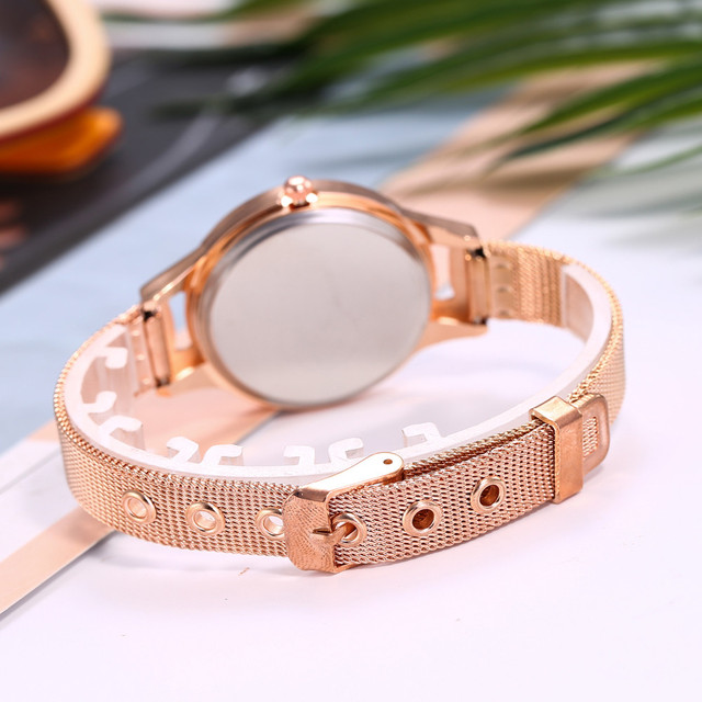 vansvar Casual Quartz Stainless Steel Band New Strap Watch Analog Wrist Watch Simple Watches Rhinestones Dress Woman Watch Rose 3