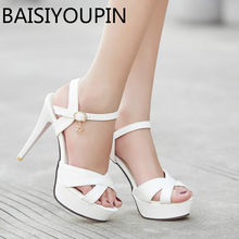 d41a30196fa3 Summer Women High Heels Shoes Lady s Cool Shoes Paltform Fish Mouth Sandals Red  Bottom Women s White. 4 Colors Available