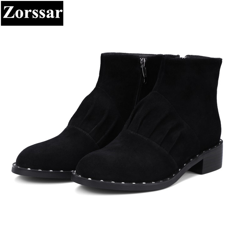 {Zorssar} 2017 NEW winter Female shoes fashion rivets flat heel Chelsea boots suede womens ankle Boots leisure women flats shoes women winter suede colorful ankle boots fringe rivets short boots square heel women fashion winter tassel boots shoes