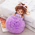 Cute Monchichi Key Chain Rabbit Fur Ball Plush Rhinestone Keychains Fashion Key Ring Holder Women Bag Charm Pendant Car Keyring