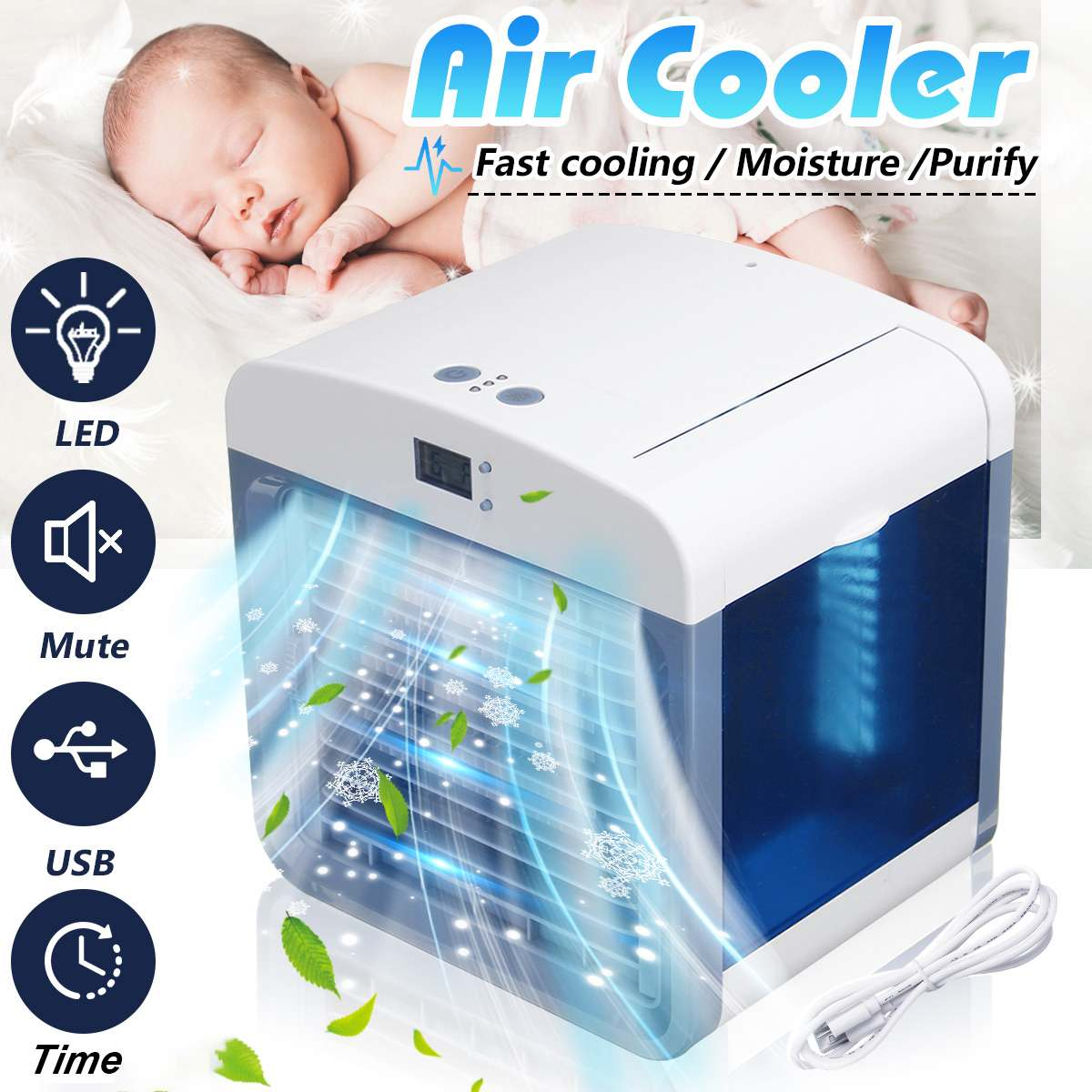 Mini Air Cooler Cool Cooling Fan USB Portable Purify Humidifier With Time Display Low Energy Consumption Air Conditioners