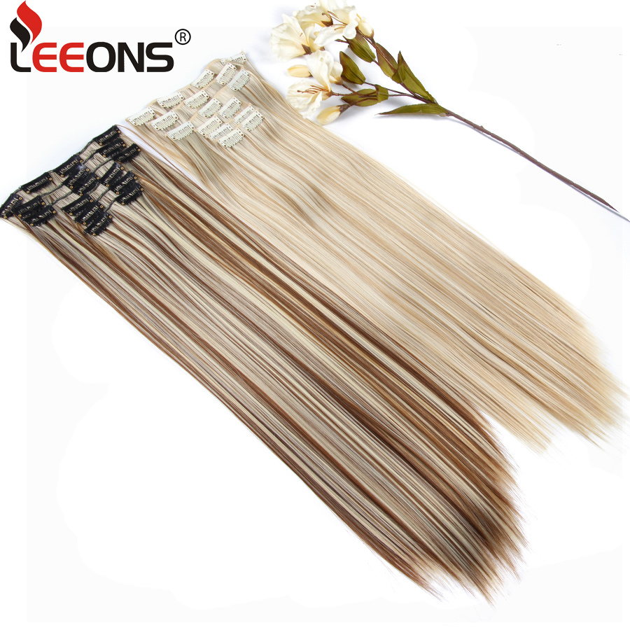 Leeons 16 Clip Hair Extension Clip Long Set Hair Synthetic Hairpieces For Women Fake/False Natural Long Hair Extensions Blond