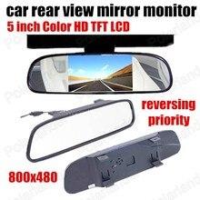 Цифровой Цветной TFT LCD Автомобиля Зеркало заднего вида Монитор Парковка обратный Монитор для Камеры DVD VCR заднего приоритет 5 дюймов 800×480