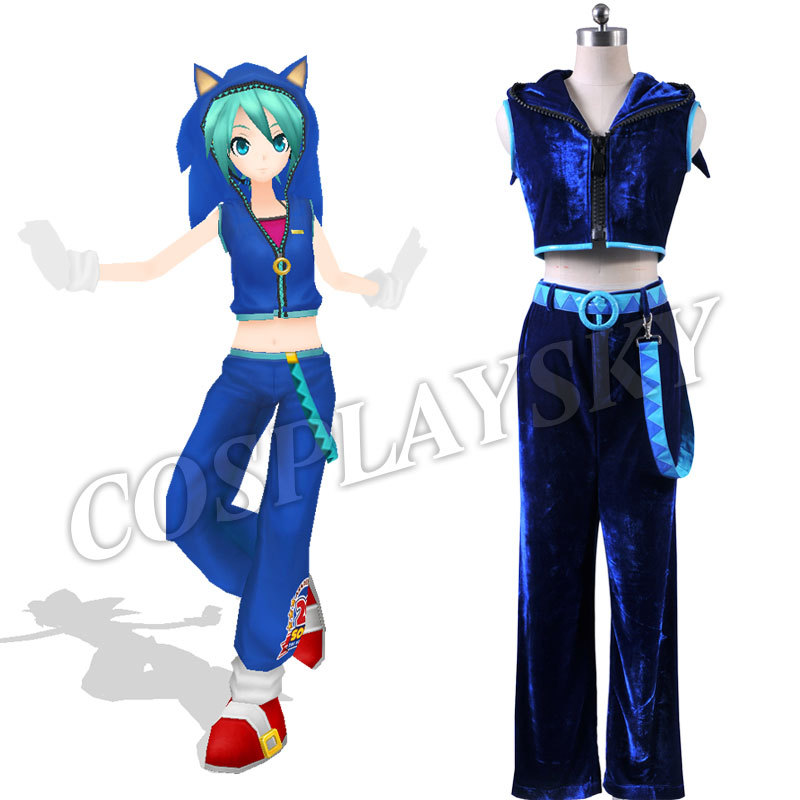 Dynamic Vocaloid Hatsune Miku Sonic Cosplay Costume Blue Sleeveless Tracksuit 2 Piece Set Clothing Solid Sportswear Halloween Suit Woman Beautiful And Charming