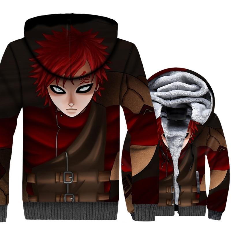 Naruto Gaara Hoodies Men 2019 Hot Sale Anime 3D Hooded Autumn Winter Warm Fleece Jackets Men's Loose Fit Harajuku Tracksuit
