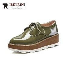 Ribetrini 2018 Новый Одежда высшего качества из коровьей кожи Туфли без каблуков Женская обувь на платформе модные удобные весенние туфли обувь