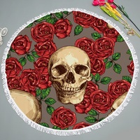 LYN&GY 2018 New Large Skull Round Beach Towel Blanket Floral Summer Towels for Beach Yoga Mat Picnic Camping Towel Carpet 150cm