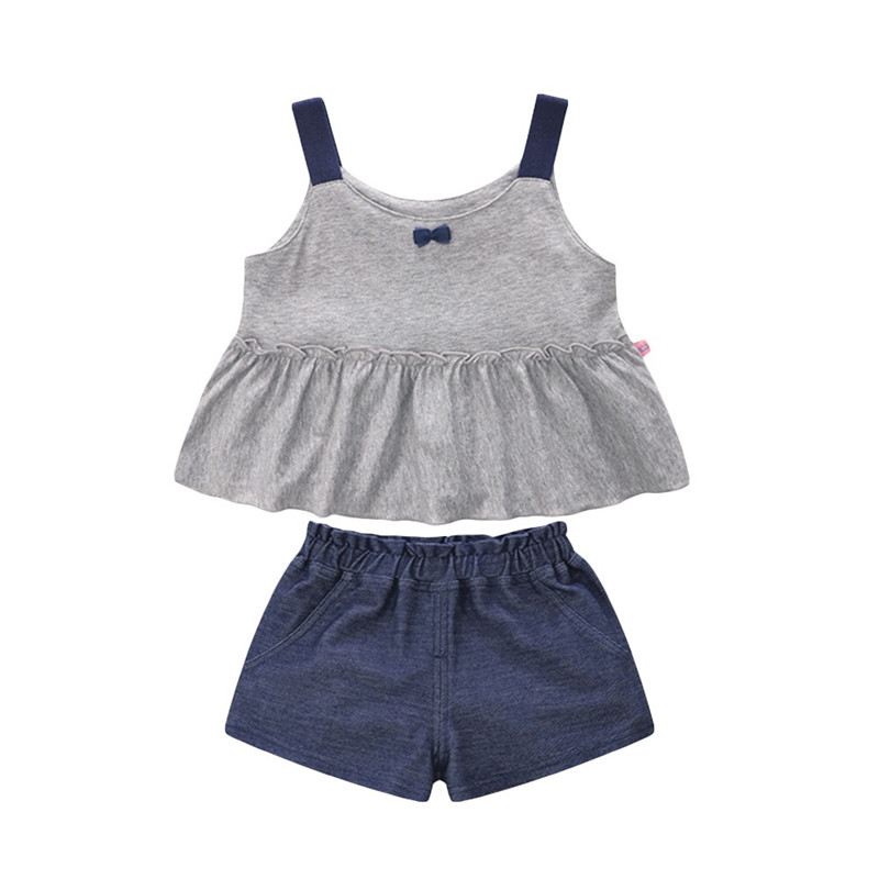 2018 New Summer time Child Ladies Clothes Units Style Sleeveless T-Shirt+Shorts 2Pcs Children Clothes Units For 1-5 Years