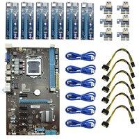 6GPU Bitcoin Mining Motherboard 6pcs Riser PCI E Express Card PCIE 1x To 16x Adapter Extender