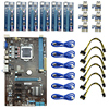 6GPU Bitcoin Mining Motherboard 6pcs Riser PCI E Express Card PCIE 1x To 16x Adapter Extender