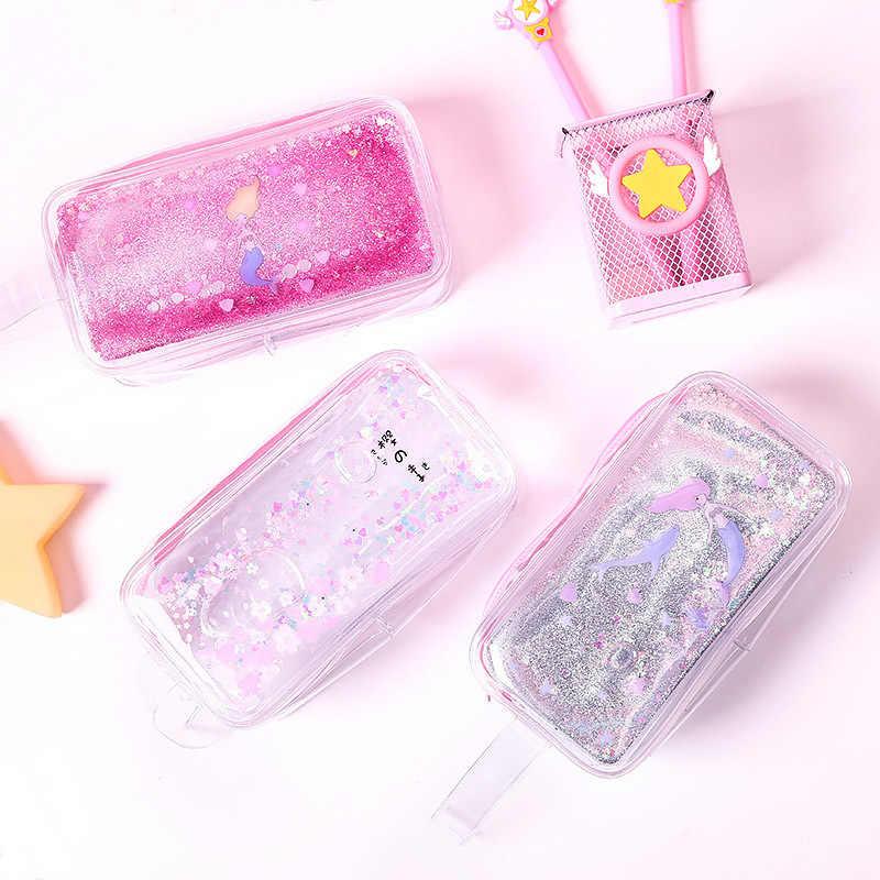 かわいい流砂鉛筆ケース高容量鉛筆バッグ透明グリッター鉛筆ケース女の子のためのペンボックス学用品
