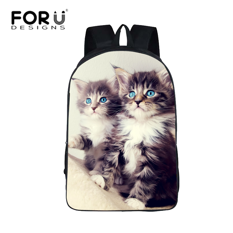 FORUDESIGNS Backpack Waterproof Canvas School Bags For Teenager Boys Girls Cat Printing Backpacks 15 inch Schoolbag Children Bag