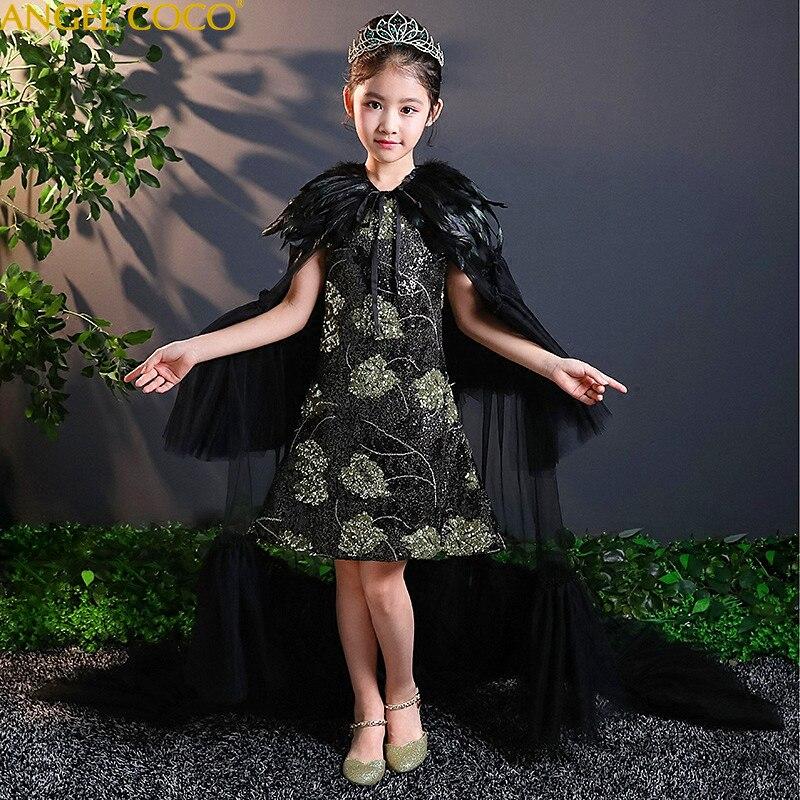 Высококачественное платье с вышивкой и цветочным узором для девочек, 2 предмета вечерние платья принцессы с блестками и перьевой шалью на свадьбу 2019